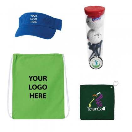 Custom Golf Swag Bag w/ Drawstring Bag and Visor