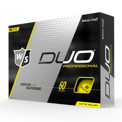 Yellow Wilson Duo Professional Logo Golf Balls / Dozen